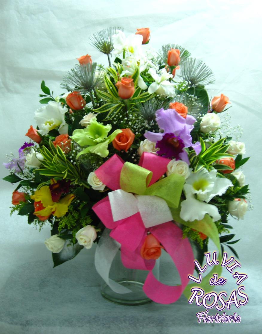 Orquideas y Rosas Base Vidrio
