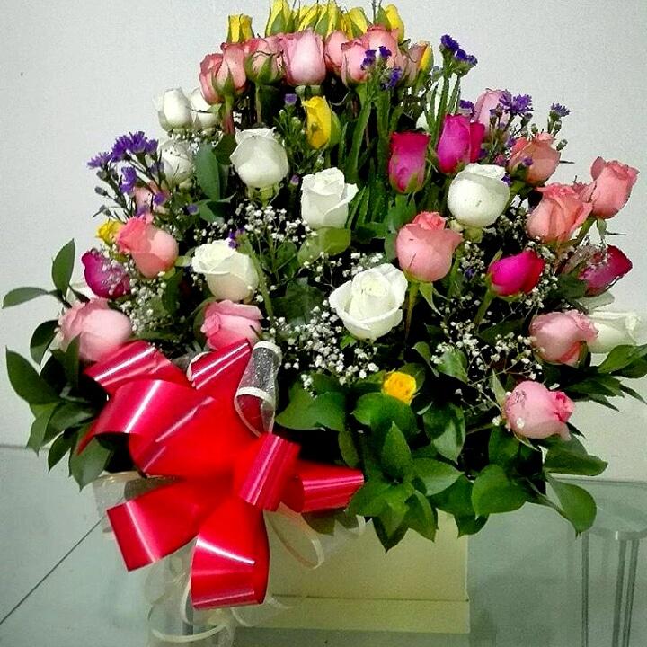 Arco iris en Rosas de colores